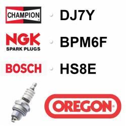 BOUGIE OREGON - CHAMPION DJ7Y - NGK BPM6F - BOSCH HS8E