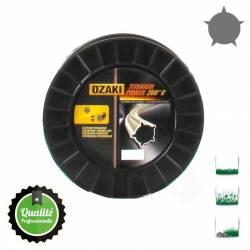 Bobine fil nylon pentagonal bi-composant OZAKI Titanium Power - 3mm x 186m - Qualité professionnelle