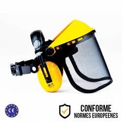 Visière professionnelle de protection extra-large anti-bruit à écran grillagé relevable