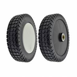 Roue plastique sur roulement plastique CASTELGARDEN - diamètre extérieur 180mm - alésage 11,65mm - Livrée avec enjoliveur