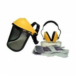 Kit de protection OZAKI casque - écran grillagé - paire de lunettes et gants - Normes EN1731F - EN352-1 - EN166F - EN388-4144