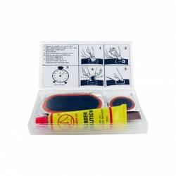 Kit réparation chambre à air SHAK avec 5 rustines diamètre 70x32 mm et 2 rustines 30 mm + colle et abrasif