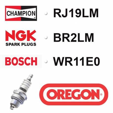 BOUGIE OREGON - CHAMPION RJ19LM - NGK BR2LM - BOSCH WR11E0