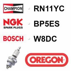 BOUGIE OREGON - CHAMPION RN11YC - NGK BP5ES - BPR5ES - BOSCH W8DC