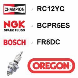 BOUGIE OREGON - CHAMPION RC12YC - NGK BCPR5ES - BOSCH FR8DC