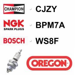 BOUGIE OREGON - CHAMPION CJ7Y - NGK BPM7A - BOSCH WS8F