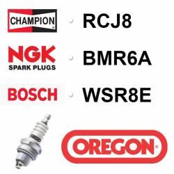 BOUGIE OREGON - CHAMPION RCJ8 - NGK BMR6A - BOSCH WSR8E