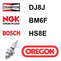 BOUGIE OREGON - CHAMPION DJ8J - NGK BM6F - BOSCH HS8E