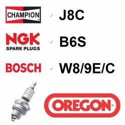BOUGIE OREGON - CHAMPION J8C - NGK B6S - BOSCH W8/9E/C
