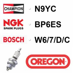 BOUGIE OREGON - CHAMPION N9YC - NGK BP6ES - BOSCH W6/7/D/C