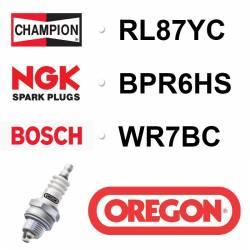 BOUGIE OREGON - CHAMPION RL87YC - NGK BPR6HS - BOSCH WR7BC