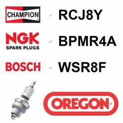 BOUGIE OREGON - CHAMPION RCJ8Y - NGK BPMR4A - BOSCH WSR8F