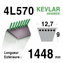 COURROIE KEVLAR 4L570 - 4L57 - MTD 754124 / 90-47-308 JOHN DEERE M43489 - M47770 - STAUB 519003581 - 30121
