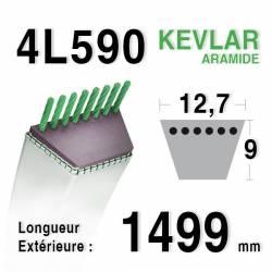 COURROIE KEVLAR 4L590 - 4L59 - MTD 7540245 / 754-0245 - JOHN DEERE M73478 - STIGA 1134-9031-01, 9585-0072-00 - WHEELHORSE 8430