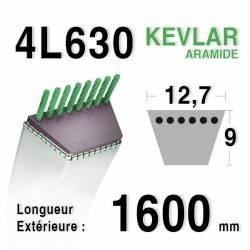 COURROIE KEVLAR 4L630 - 4L63 - MTD 7540198 - 7540164 - AMF / NOMA 45186 - 39455 - JOHN DEERE M82538 -  M112006 - M86422