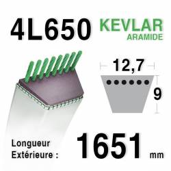 COURROIE KEVLAR 4L650 - 4L65 - MTD 754191 / 90-65-390 - JOHN DEERE M82462 - BOLENS 1738496-1722238 - AYP / ROPER 358406-368406
