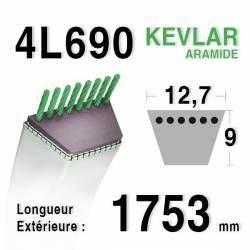 COURROIE KEVLAR 4L690 - 4L69 - AYP / ROPER 106412 X - WHEEL HORSE 107647 - Ransomes / Bobcat A421740