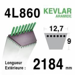 COURROIE KEVLAR 4L860 - 4L86 - CASTELGARDEN / GGP 135061506/0 - JOHN DEERE M126009 - M45254 - KUBOTA  7200146