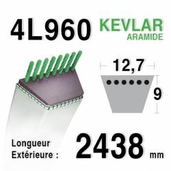 COURROIE KEVLAR 4L960 - 4L96 - Husqvarna 532180260 - Castelgarden 35061980/0 - MTD 75404060 - JOHN DEERE M125218 - GILSON 210692