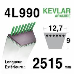 COURROIE KEVLAR 4L990 - 4L99 - JOHN DEERE M49920 - M72683 - MTD  - 7540440 - MOTOSTANDARD 75273 - 75279 - MURRAY 37x22 - 23749