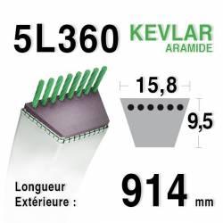 COURROIE KEVLAR 5L360 - 5L36 - MTD 754-0453 - 954-0453 - 754-0199 - JOHN DEERE M42226 - AYP 62411