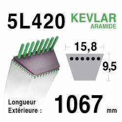 COURROIE KEVLAR 5L420 - 5L42 - MTD 75404171 - JOHN DEERE M76054