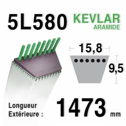 COURROIE KEVLAR 5L580 - 5L58 - CASTELGARDEN / GGP / STIGA 35062811/0 - MTD 7540493 - 754-0493