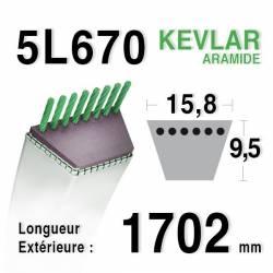 COURROIE KEVLAR 5L670 - 5L67 - MTD 75404170 / 7540151 / 90-65-079 - JOHN DEERE M 44121