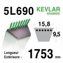COURROIE KEVLAR 5L690 - MTD 7540329 - 7540433 - 7540145 - 90-47-665 - 954-04001 -AMF / NOMA 42111 - 43066 - ARIENS 72052