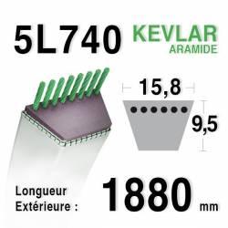 COURROIE KEVLAR 5L740 - 5L74 - MTD 7540371 A - AMF 302289 - DIXON 2412 - WESTWOOD 2695