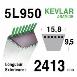 COURROIE KEVLAR 5L950 - 5L95 - MTD 75404075 - 7540632 - KUBOTA 7650034710 - AYP / HUSQVARNA 180260 - 532180260