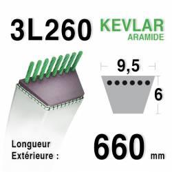 Courroie motoculture trapézoïdale 9.5mm x 660mm ext. (3L26)