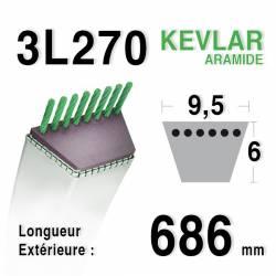 Courroie motoculture trapézoïdale 9.5mm x 686mm ext. (3L27)