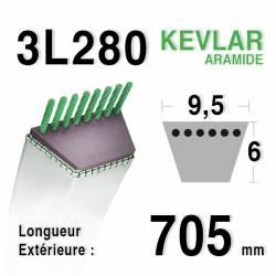 Courroie motoculture trapézoïdale 9.5mm x 705mm ext. (3L28)