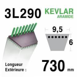 Courroie motoculture trapézoïdale 9.5mm x 730mm ext. (3L29)