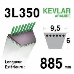 Courroie motoculture trapézoïdale 9.5mm x 885mm ext. (3L35)