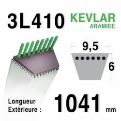 Courroie motoculture trapézoïdale 9.5mm x 1041mm ext. (3L41)