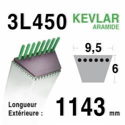 Courroie motoculture trapézoïdale 9.5mm x 1143mm ext. (3L45)