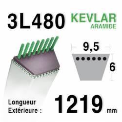 Courroie motoculture trapézoïdale 9.5mm x 1219mm ext. (3L48)