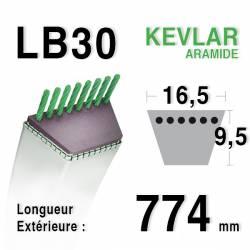 Courroie motoculture trapézoïdale 16.5mm x 774mm ext. (LB30)