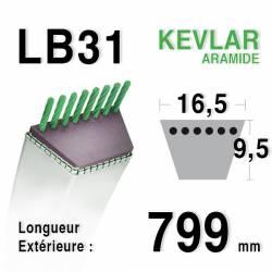 Courroie motoculture trapézoïdale 16.5mm x 799mm ext. (LB31)