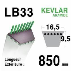 Courroie motoculture trapézoïdale 16.5mm x 850mm ext. (LB33)