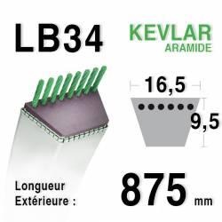 Courroie motoculture trapézoïdale 16.5mm x 875mm ext. (LB34)