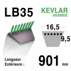 Courroie motoculture trapézoïdale 16.5mm x 901mm ext. (LB35)