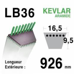 Courroie motoculture trapézoïdale 16.5mm x 926mm ext. (LB36)