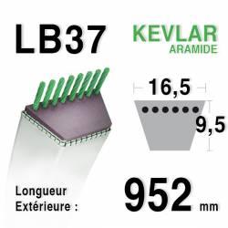 Courroie motoculture trapézoïdale 16.5mm x 952mm ext. (LB37)