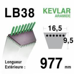 Courroie motoculture trapézoïdale 16.5mm x 977mm ext. (LB38)