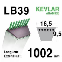 Courroie motoculture trapézoïdale 16.5mm x 1002mm ext. (LB39)