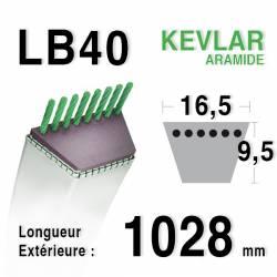 Courroie motoculture trapézoïdale 16.5mm x 1028mm ext. (LB40)