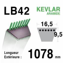 Courroie motoculture trapézoïdale 16.5mm x 1078mm ext. (LB42)